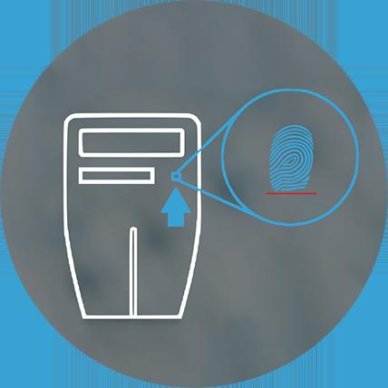 Biometric reader integrated the self service kiosk