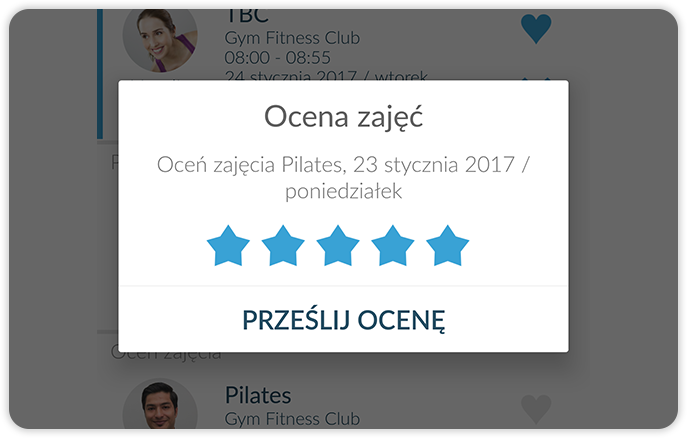 Fitness class evaluation in the mobile app