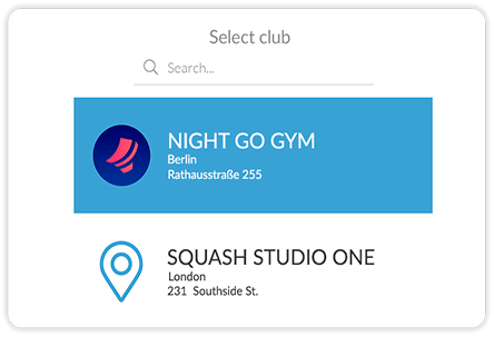 Fitness club mobile app search club