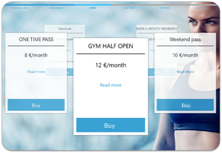 GYMMANAGER self service kiosk dashboard