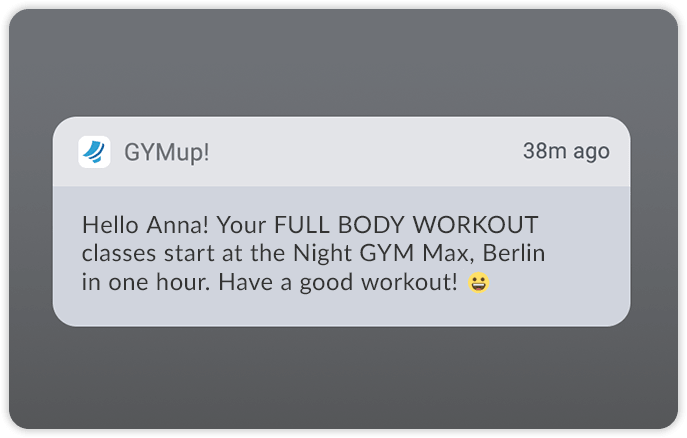 mobile push notification in fitness club